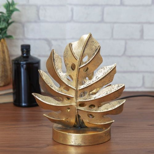 Gold Metal Monstera Leaf Lamp